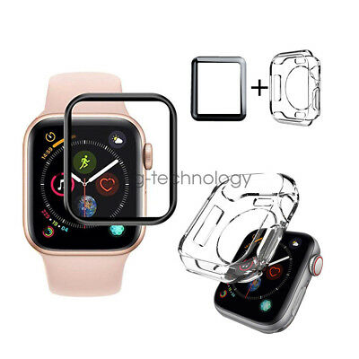 Full Cover Screen Protector & TPU Case For Apple Watch Series 4 iWatch 40mm 44mm