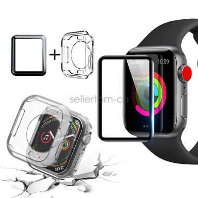 Tempered Glass Screen Protector TPU Case For Apple Watch Series 4 3 40 44mm 42mm