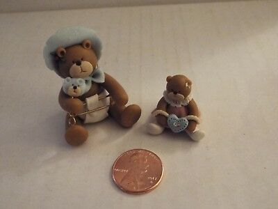 2 NEW-OOAK-Handmade Tiny Miniature Polymer Clay Bears-Dolls-Baby-Girl-Mini-RARE