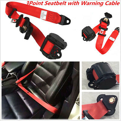 1X Auto Car RED3Point Safety Seat Lap Belt Retractable Curved Rigid Buckle Warn