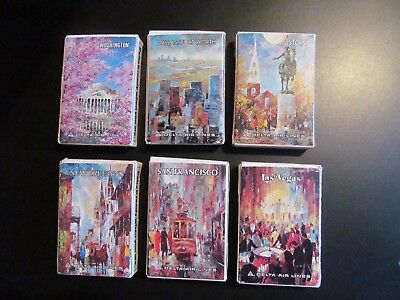 "6 x DELTA AIRLINES 70s ""CITIES"" playing cards VEGAS BOSTON SAN FRANCISCO DALLAS"