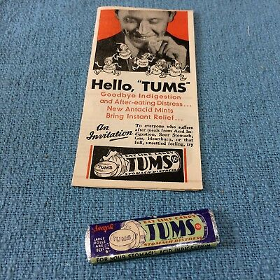 Vintage TUMS Advertising Paper and Free Sample Package~Medical Collectible