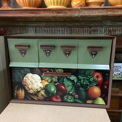 Mid-Century GARNER WARE Bread Box w/ Canisters VTG Kitchen Avocado Green~Unused
