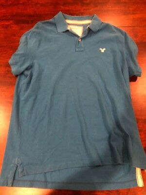 622325e7 AMERICAN EAGLE OUTFITTERS Mens Polo Shirt Blue Size XXL Vintage Fit ...