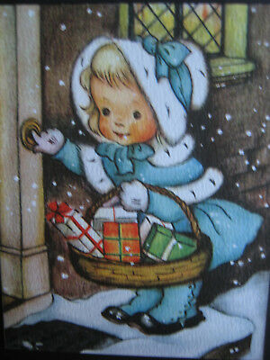 UNUSED 1950s vintage greeting card Crestwick CHRISTMAS Girl Delivering Gifts