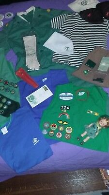 Mixed Lot Vtg Girl Scout Items-1950s to 2000s-Uniforms/Sashes/Vests/Doll & More