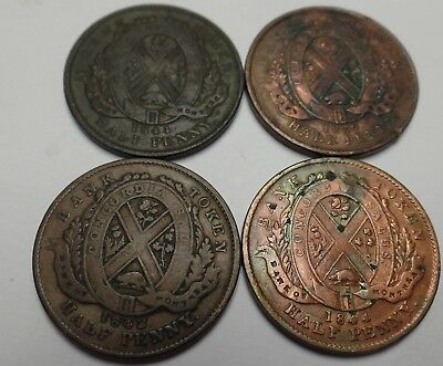 four Canadian 1/2 Half Penny Bank Tokens 1844 (2), 1837, 1842