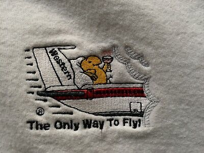 """Vintage Western Airlines """"The Only Way To Fly"""" Logo White Sweatshirt XL"""