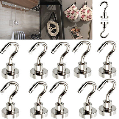 10PCS Heavy Duty Magnetic Hooks 12Lbs Strong Powerful Neodymium Home Kitchen NEW