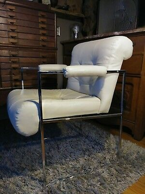 Thayer Coggin Milo Baughman Lounge Chair High Point NC Mid Century Modern White
