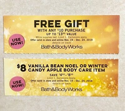 2 Bath & Body Works Coupons Freee Gift With Purchase $8 Christmas Body Care Item