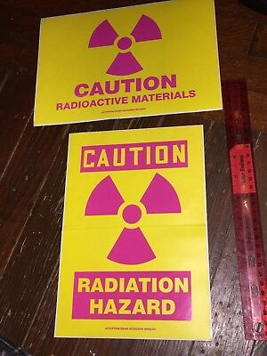 Radiation Radioactive Hazard Old Vintage Sign Decal Sticker Lot Accuform