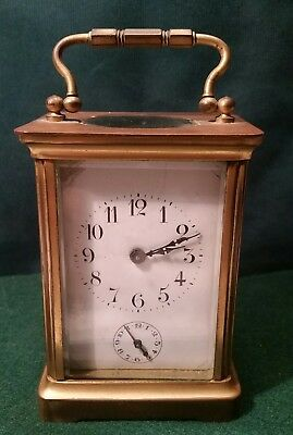 Antique French Carriage Clock 2 Dial #273 Brass Beveled Glass Parts Repair