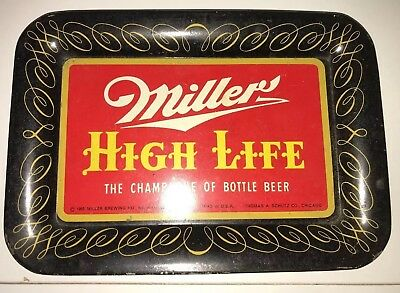 Vintage 1952 Miller High Life Tin Ashtray Man Cave Quick Ship R