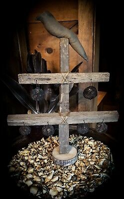 primitive Tobacco Stick Tree With Crow And Walnuts