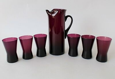 Vintage Retro 60s/70s ART GLASS PITCHER/JUG & GLASSES Mid Century WATER/COCKTAIL