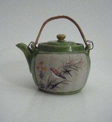 Antique Japanese Banko Ware Green Glaze Pottery Teapot