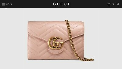 c2bc0d7c3f0e Gucci Marmont Chain Wallet Chevron Quilted GG Crossbody Shoulder Bag Nude  Pink