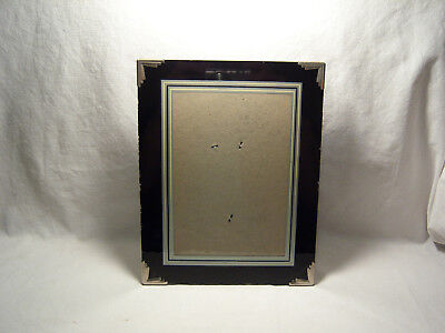 Vintage Art Deco Picture Frame Black Silver White Reverse Painted Metal Corners