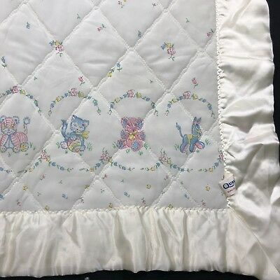 Vtg Quiltex Baby Coverlet Quilted Blanket Comforter Infant Crib Ivory Satin