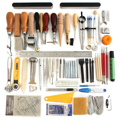 Leather Craft DIY Tools Punch Kit Stitching Carving Knife Sewing Saddle Groover