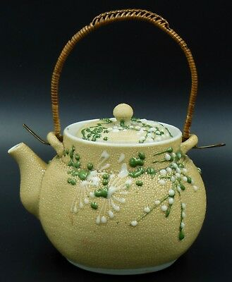 Antique Japanese Moriage Meiji Sharkskin Pottery Teapot Orange Peel Glaze