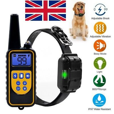 UK 800M Remote Control Anti-Bark Electric Shock Collar Dog Training Rechargeable