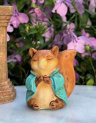 "Miniature FAIRY GARDEN ~ Tiny 1¼"" ZEN Buddha Animal Anjali Mudra SQUIRREL"