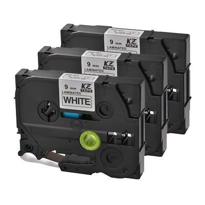 3x 9mm Black on White Label Tape Compatible with Brother P-Touch PT-D200 HS1164