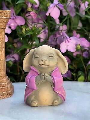 "Miniature FAIRY GARDEN ~ Tiny 1¼"" ZEN Buddha Animal Anjali Mudra RABBIT"