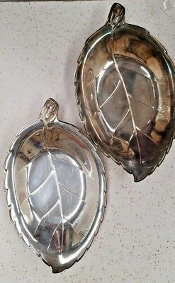 *bogo* Pair Of Wonderful Leaf Design Silverplate Dishes International Silver Co.