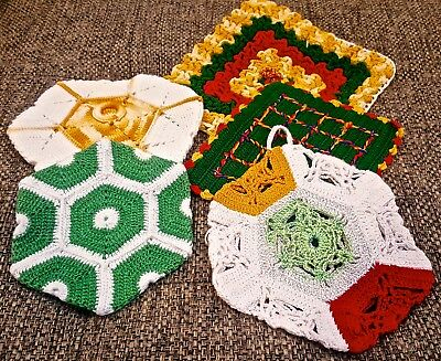 Lot of Vintage POTHOLDERS Bright Bold Rasta Christmas Colors Near MINT Condition