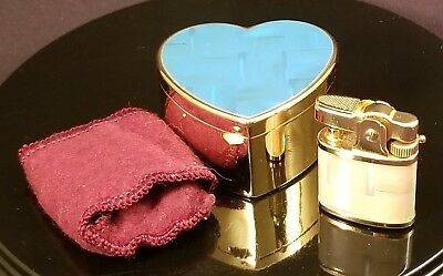 Ronson Miniature Pocket Lighter In Heart Shaped Clamshell Case