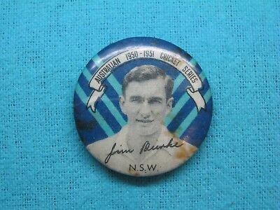 1950-51 NSW AUSTRALIA CRICKET CLUB SERIES TEAM PLAYER TIN BACK BADGE No1