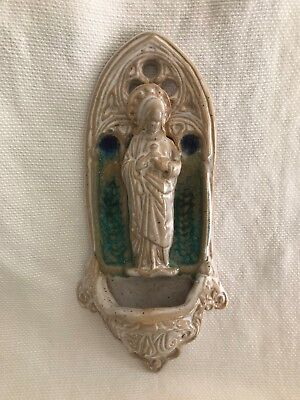 Handcrafted Art Pottery Holy Water Font Virgin Mary Blue Glass Accents
