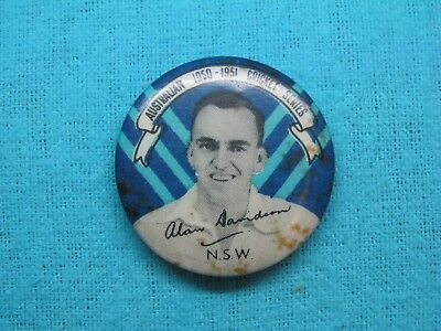 1950-51 NSW AUSTRALIA CRICKET CLUB SERIES TEAM PLAYER TIN BACK BADGE No10