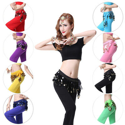8 Colours Belly Dance Hip Wrap Scarf Skirt Belt Dancing Gold Coins &Sequins