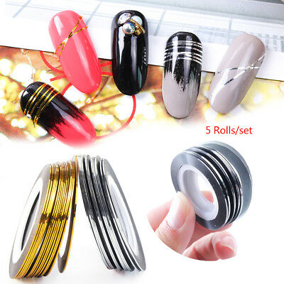 5 Rolls/set Gold Silver Glitter Striping Tape Lines Nail Art Adhesive Sticker~