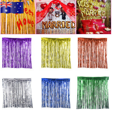 1M/2M/3M x 1M Metallic Tinsel Curtain Party Foil Fringe Curtain Decorations AU