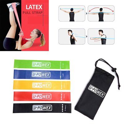 Set of 5 Exercise Resistance Loop Bands for Fitness Stretch Therapy Strength RM