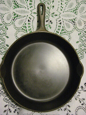 Big Vintage Griswold No.9 Cast Iron Skillet + Glass Smooth & Fully Restored NR!!