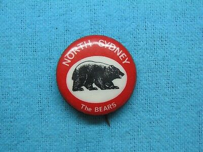 North Sydney Bears Rugby League Football Club Tin Back Badge
