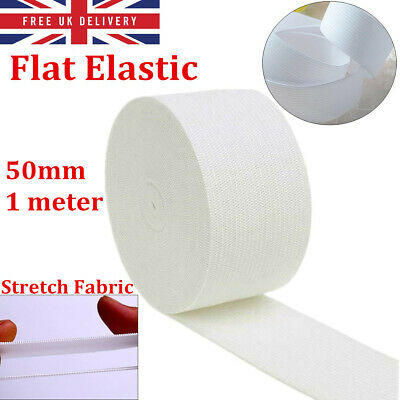 1Meter 25mm Stretch Flat Elastic Strong Woven Sewing Dressmaking Trousers White