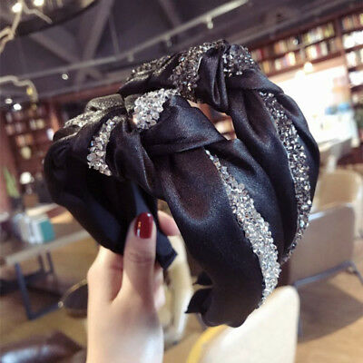 Crystal Korean Women Headband Vintage Bow Wide Twist Turban Knot Hair band