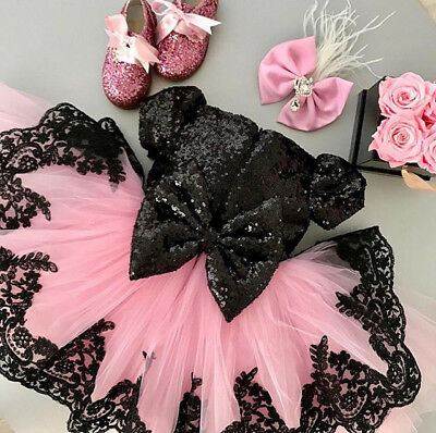 Princess Baby Bowknot Girl Dress Lace Party Gown Bridesmaid Tulle Tutu Dresses