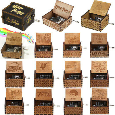 Retro Wooden Music Box Harry Potter Various Handmade Engraved Toy Craft Kid Gift
