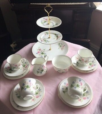 A Pretty Vintage Royal Vale Tea Set & Large Cake Stand Pretty Flowers New Price
