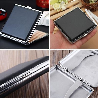 Durable Stainless Steel+Pu Cigar Cigarette Tobacco Case Pocket Pouch Holder Box