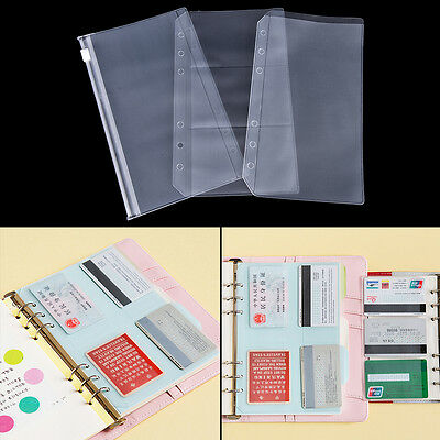 A5/A6 Transparent Zip Lock Envelope Binder Pocket Refill Organiser Stationery A!