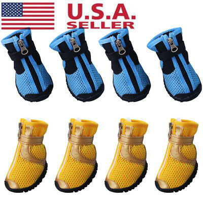 4pcs Dog Shoes Small Large Mesh Boots Anti-slip Booties for Snow Rain Reflective
